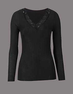 Modal Rich Thermal Long Sleeve Top with Silk, BLACK, catlanding