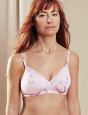 Post Surgery Lace Trim Padded Full Cup Bra A-DD
