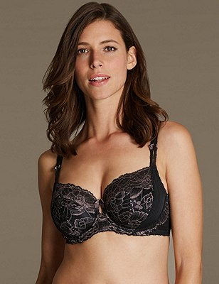 Amelie Lace Underwired Non-Padded Balcony Bra DD-GG, BLACK MIX, catlanding