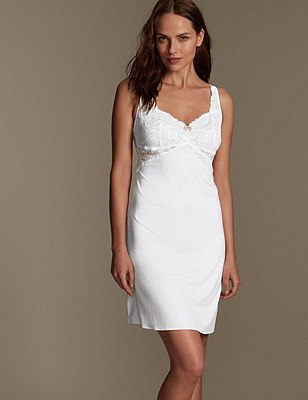 Amelie Lace Slip with Cool Comfort™ Technology, WHITE, catlanding