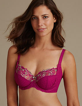 Ophelia Embroidered Non-Padded Balcony Bra DD-GG with Cool Comfort™ Technology, DARK PINK, catlanding