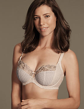 Ophelia Embroidered Non-Padded Balcony Bra DD-GG with Cool Comfort™ Technology, LIGHT APRICOT, catlanding