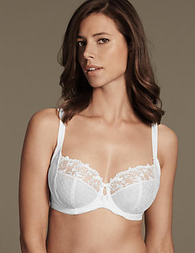 Ophelia Embroidered Non-Padded Balcony Bra DD-GG with Cool Comfort™ Technology, WHITE, catlanding