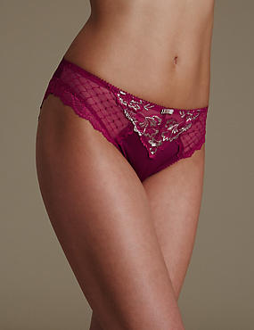 Ophelia Embroidered High Leg Knickers with Cool Comfort™ Technology, DARK PINK, catlanding