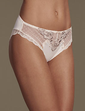 Ophelia Embroidered High Leg Knickers with Cool Comfort™ Technology, LIGHT APRICOT, catlanding