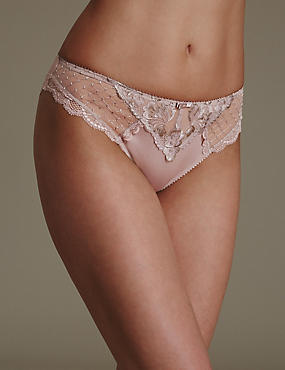 Ophelia Embroidered High Leg Knickers with Cool Comfort™ Technology, NUDE MIX, catlanding