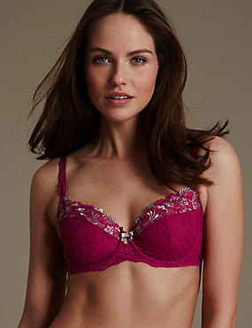 Ophelia Embroidered Non-Padded Full Cup Bra B-DD with Cool Comfort™ Technology, DARK PINK, catlanding