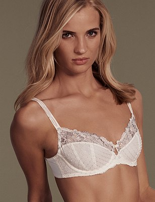 Ophelia Embroidered Non-Padded Balcony Bra B-DD with Cool Comfort™ Technology, LIGHT APRICOT, catlanding