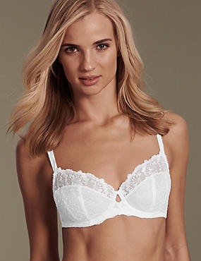 Ophelia Embroidered Non-Padded Full Cup Bra B-DD with Cool Comfort™ Technology, WHITE, catlanding