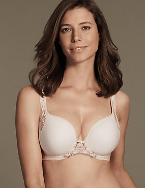 Ophelia Embroidered Spacer Balcony Bra DD-GG with Cool Comfort™ Technology, LIGHT APRICOT, catlanding