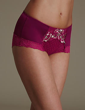 Ophelia Embroidered Flatter-Me™ Shorts with Cool Comfort™ Technology, DARK PINK, catlanding