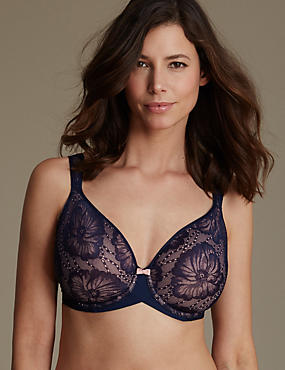 Smoothing Lace Spacer Non-Padded Plunge Bra DD-G