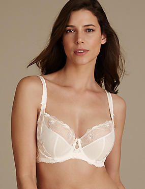 Embroidered Non-Padded Balcony Bra DD-GG, WHITE MIX, catlanding