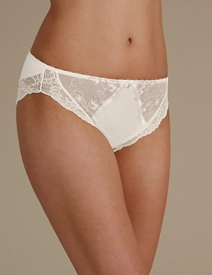 Floral Embroidered High Leg Knickers, WHITE MIX, catlanding