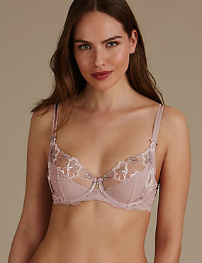 Floral Embroidered Non Padded Full Cup Bra , NUDE MIX, catlanding