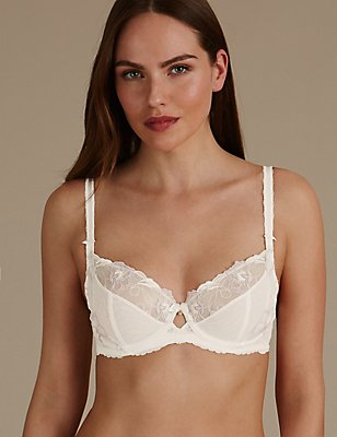 Floral Embroidered Non-Padded Full Cup Bra, WHITE MIX, catlanding