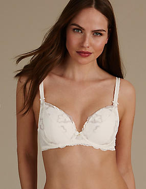 Floral Embroidered Padded Balcony Bra , WHITE MIX, catlanding