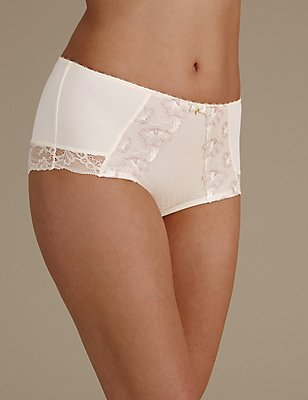 Shorty taille haute à broderies fleuries, BLANC ASSORTI, catlanding