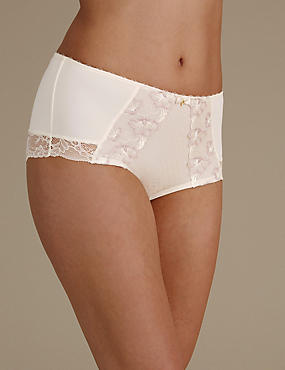 Floral Embroidered High Rise Shorts, WHITE MIX, catlanding