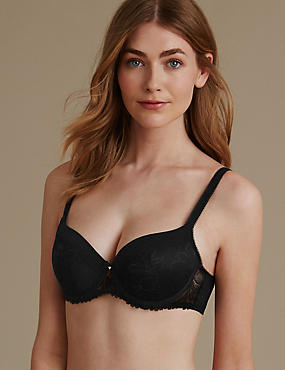 Arelia Lace Padded Underwired Balcony Bra A-E, BLACK, catlanding