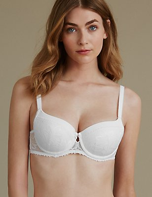 Arelia Lace Padded Underwired Balcony Bra A-E, , catlanding