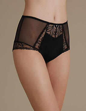 Arelia Lace High Waist Brazilian Knickers, BLACK, catlanding
