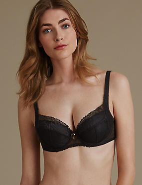 Arelia Lace Padded Underwired Full Cup Bra A-E, BLACK, catlanding