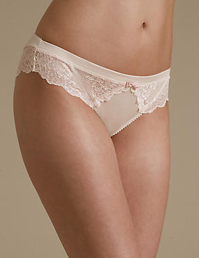 Sumptuously Soft with Ultimate Comfort Lace Brazilian Knickers, PALE PINK MIX, catlanding