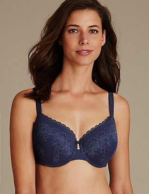 Sumptuously Soft Ultimate Comfort Plunge Bra DD-GG, NAVY MIX, catlanding