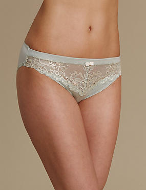 Sumptuously Soft Ultimate Comfort High Leg Knickers, GREEN MIX, catlanding