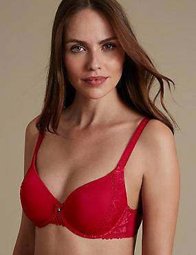 Arelia Lace Memory Foam Underwired Full Cup Bra A-E, RED, catlanding