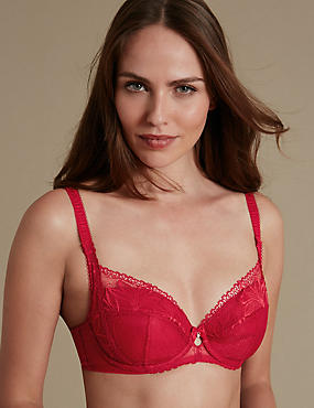 Arelia Padded Underwired Full Cup Bra A-DD, RED, catlanding
