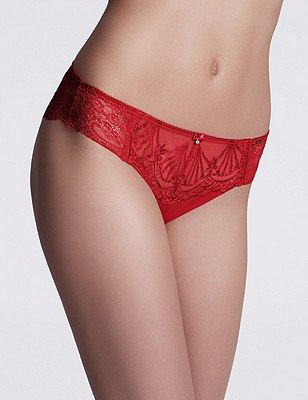 Ornamental Embroidery Brazilian Knickers, RED MIX, catlanding
