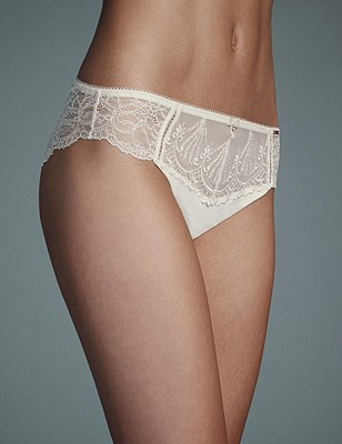 Ornamental Embroidery Brazilian Knickers, WINTER WHITE, catlanding