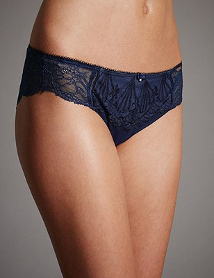 Ornamental Embroidery Brazilian Knickers, INDIGO, catlanding