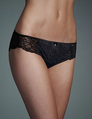 Ornamental Embroidery Brazilian Knickers, BLACK/GREY, catlanding