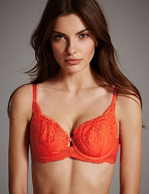 Ornamental Embroidery Padded Underwired Balcony Bra A-E, CHILLI, catlanding