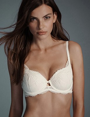 Ornamental Embroidery Padded Underwired Balcony Bra A-E, WINTER WHITE, catlanding