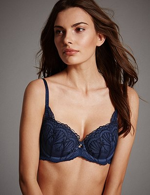 Ornamental Embroidery Padded Underwired Balcony Bra A-E, INDIGO, catlanding