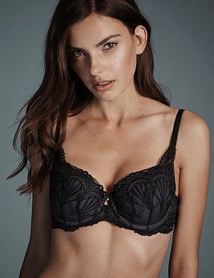 Ornamental Embroidery Padded Underwired Balcony Bra A-E, BLACK/GREY, catlanding