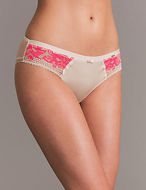 Lace Brazilian Knickers, WATERMELON, catlanding