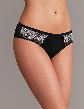 Lace Brazilian Knickers, BLACK MIX, catlanding