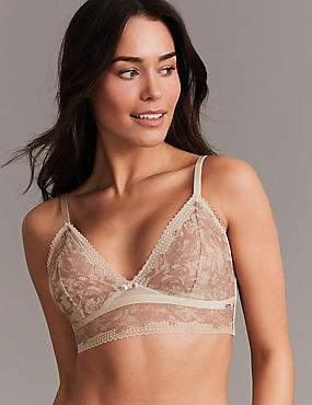 Lace Embroidered Non-Padded Bralet, NUDE MIX, catlanding