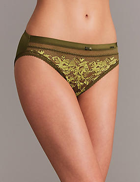 Lace Embroidered High Leg Knickers, KHAKI MIX, catlanding