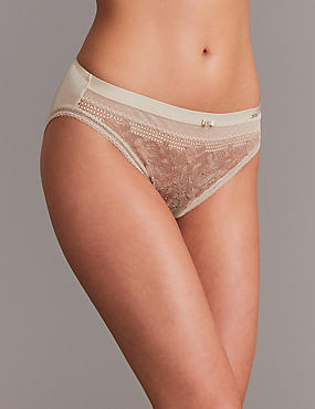 Lace Embroidered High Leg Knickers, NUDE MIX, catlanding
