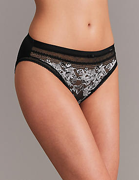 Lace Embroidered High Leg Knickers, BLACK MIX, catlanding