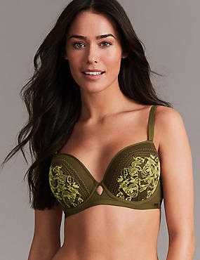Lace Embroidered Padded Balcony Bra A- G, KHAKI MIX, catlanding