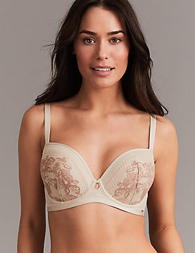 Lace Embroidered Padded Balcony Bra A- G, NUDE MIX, catlanding