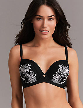 Lace Embroidered Padded Balcony Bra A- G, BLACK MIX, catlanding