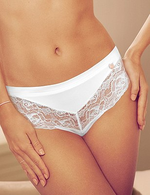 Nude Rose™ No VPL Brazilian Knickers with French Designed Rose Lace & Silk Trims, WHITE, catlanding